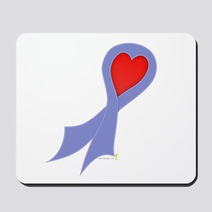 Periwinkle Ribbon with Heart Mousepad