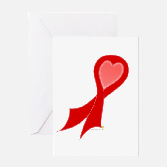 Red Ribbon with Heart Greeting Card