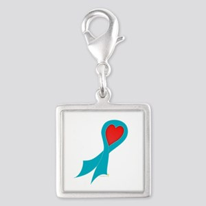Teal Ribbon with Heart Silver Square Charm