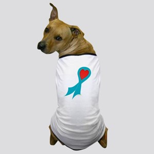 Teal Ribbon with Heart Dog T-Shirt