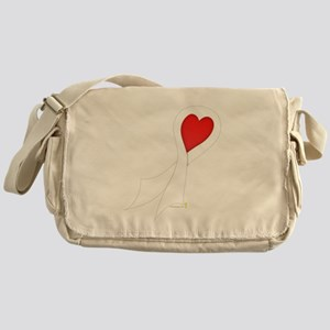 White Ribbon with Heart Canvas Messenger Bag
