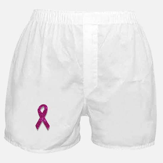 sequin pink breast cancer ribbon Boxer Shorts