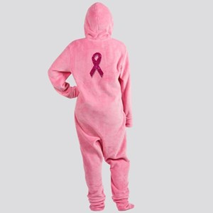 sequin pink breast cancer ribbon Footed Pajamas