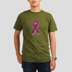 sequin pink breast cancer ribbon T-Shirt