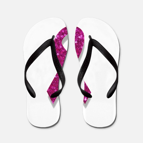 sequin pink breast cancer ribbon Flip Flops