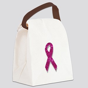 sequin pink breast cancer ribbon Canvas Lunch Bag