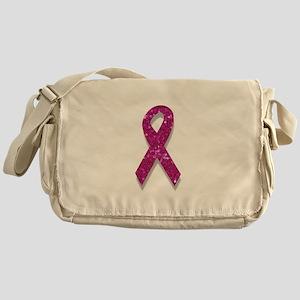 sequin pink breast cancer ribbon Messenger Bag