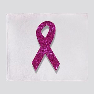 sequin pink breast cancer ribbon Throw Blanket