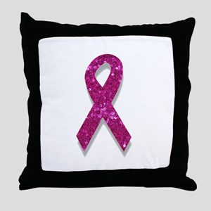sequin pink breast cancer ribbon Throw Pillow