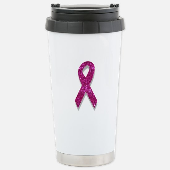sequin pink breast canc Stainless Steel Travel Mug