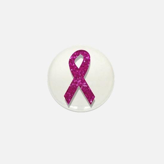 sequin pink breast cancer ribbon Mini Button