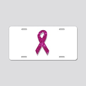 sequin pink breast cancer r Aluminum License Plate