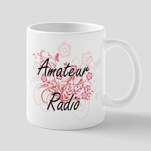 Amateur Radio Artistic Design with Flowers Mugs
