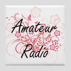 Amateur Radio Artistic Design with Fl Tile Coaster