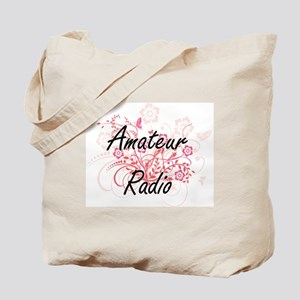 Amateur Radio Artistic Design with Flower Tote Bag