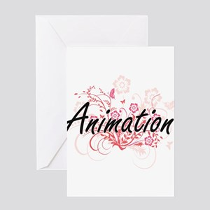 Animation Artistic Design with Flow Greeting Cards