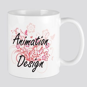 Animation Design Artistic Design with Flowers Mugs