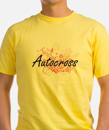 Autocross Artistic Design with Flowers T-Shirt