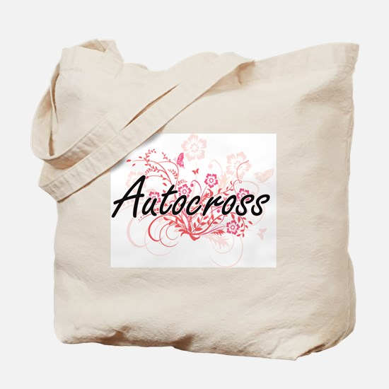 Autocross Artistic Design with Flowers Tote Bag