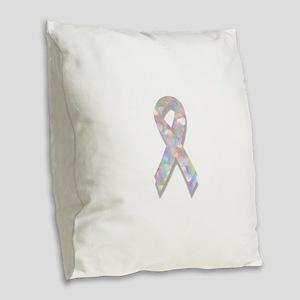 pearl lung cancer ribbon Burlap Throw Pillow