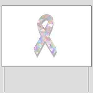 pearl lung cancer ribbon Yard Sign