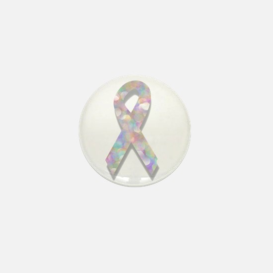 pearl lung cancer ribbon Mini Button