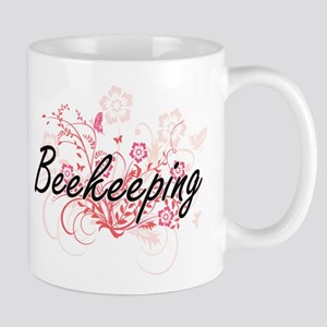 Beekeeping Artistic Design with Flowers Mugs