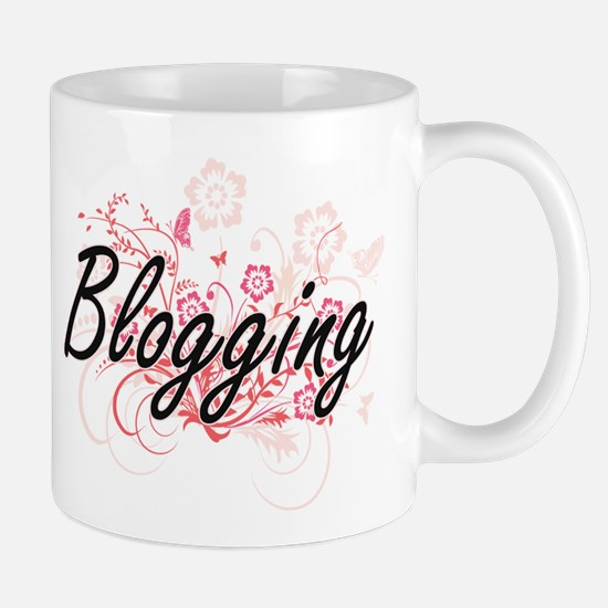 Blogging Artistic Design with Flowers Mugs