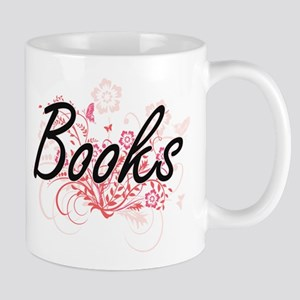 Books Artistic Design with Flowers Mugs