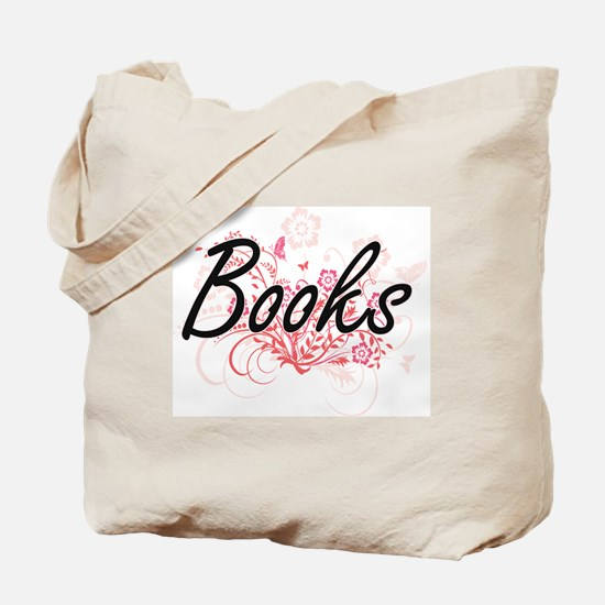Books Artistic Design with Flowers Tote Bag
