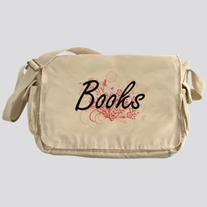 Books Artistic Design with Flowers Messenger Bag