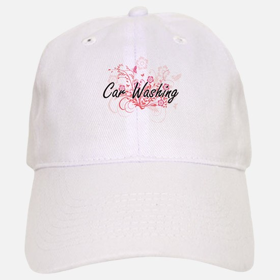 Car Washing Artistic Design with Flowers Baseball Baseball Cap