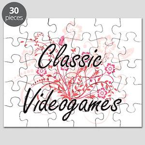 Classic Videogames Artistic Design with Flo Puzzle