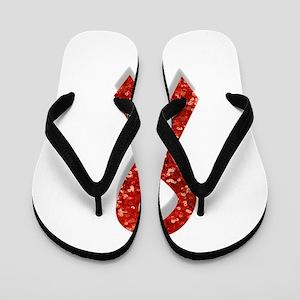glitter red ribbon Flip Flops