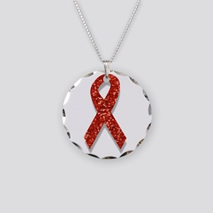 glitter red ribbon Necklace Circle Charm