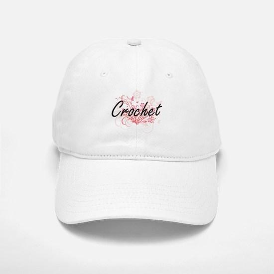 Crochet Artistic Design with Flowers Baseball Baseball Cap