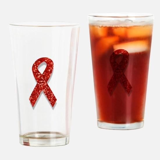 glitter red ribbon Drinking Glass
