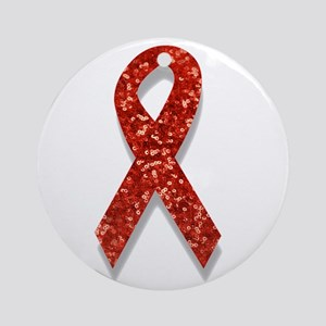 glitter red ribbon Round Ornament