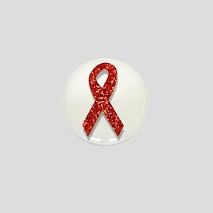 glitter red ribbon Mini Button