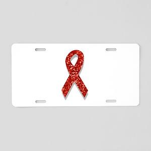 glitter red ribbon Aluminum License Plate