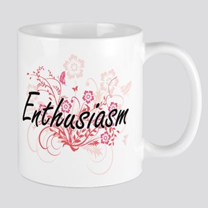 Enthusiasm Artistic Design with Flowers Mugs