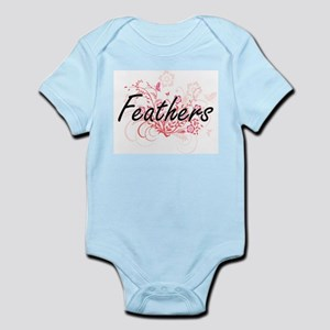Feathers Artistic Design with Flowers Body Suit