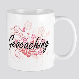 Geocaching Artistic Design with Flowers Mugs