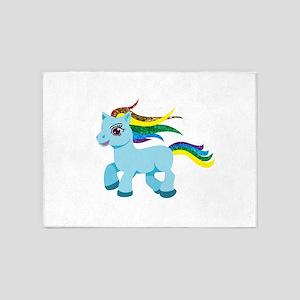 rainbow blue pony 5'x7'Area Rug