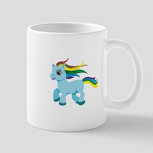 rainbow blue pony Mugs
