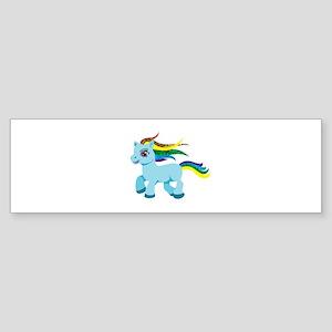 rainbow blue pony Bumper Sticker