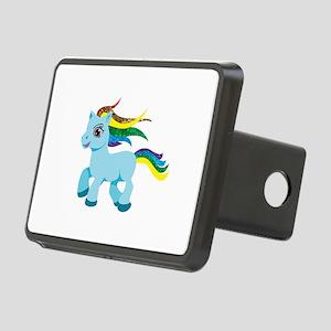 rainbow blue pony Rectangular Hitch Cover