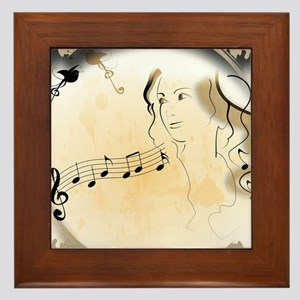 Music girl Framed Tile