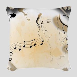 Music girl Woven Throw Pillow