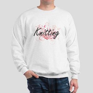 Knitting Artistic Design with Flowers Sweatshirt